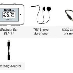 Elephant Ear ESR-11<br> + TRS Stereo Earphone with 3.5 mm jack<br> + TRRS Cable with 3.5 mm jacks (both ends) for connecting Elephant Ear with cell phone for recording<br> + Lightening cable adapter