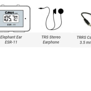 Elephant Ear ESR-11<br> + TRS Stereo Earphone with 3.5 mm jack<br> + TRRS Cable with 3.5 mm jacks (both ends) for connecting Elephant Ear with cell phone for recording