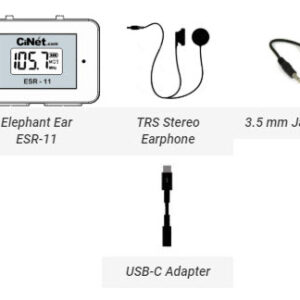 Elephant Ear ESR-11<br> + TRS Stereo Earphone with 3.5 mm jack<br> + TRRS Cable with 3.5 mm jacks (both ends) for connecting Elephant Ear with cell phone for recording<br> + USB-C cable adapter