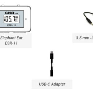Elephant Ear ESR-11<br> + TRRS Cable with 3.5 mm jacks (both ends) for connecting Elephant Ear with cell phone for recording<br> + USB-C cable adapter